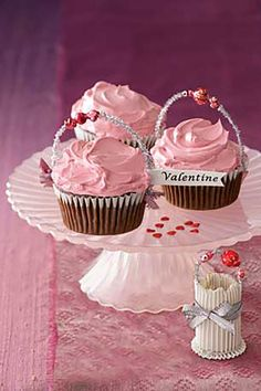 Pink Cupcakes:  Chocolate cupcakes topped with pink-tinted Swiss meringue buttercream are a decadent treat. Add glittery garnishes to dress them up for Valentine's Day.