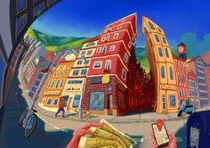 Red Cherry District by Giorge Roman Studio Freelance Illustrator, I Shop, Roman, Behance, Art Prints, Studio, Gallery, Illustration, Artist