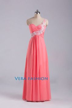 One Shoulder Prom Dress Red Prom Dresses Prom Dress by VeraFashion, $109.00