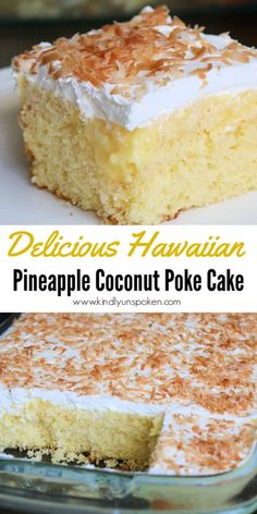 This Easy Hawaiian Pineapple Coconut Poke Cake is so delicious! All you need is a cake mix, crushed pineapple, pudding, whipped cream, and shredded coconut! Pineapple Poke Cake, Pineapple Upside Down Cake, Pineapple Coconut, Crushed Pineapple Cake, Cake Mix Desserts, Poke Cake Recipes, Just Desserts, Coconut Desserts, French Vanilla Cake