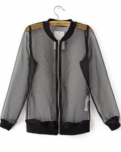 Black Long Sleeve Sheer Organza Jacket - Sheinside.com