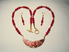 Red Flower Necklace, Cloisonne Bib Necklace with Red Coral and Gold Plated Beads, Red Beaded Drop Earrings, Mother's Day Gift for Her