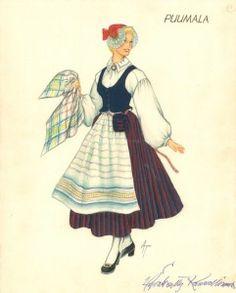 Puumalan puvun kuvitusta