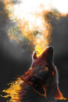 """""""Sion howled, his breath harnessing a scorching fire as his fur began to glow with the power of the elemental wolf. The prophecy had finally begun..."""" Howling Wolf Tattoo, Wolf Howling Drawing, Lone Wolf Tattoo, Wolf Tattoos, Wolf Photography, Colourful Photography, The Wolf, Wolf Images, Wolf Photos"""
