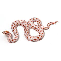 """Herend Hand Painted Porcelain Figurine  """"Garden Snake"""" Rust Fishnet Gold Accents."""
