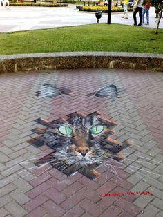 Here kitty, kitty Street Wall Art, Murals Street Art, Street Art Graffiti, Mural Art, 3d Sidewalk Art, Pavement Art, 3d Chalk Art, Amazing Street Art, Creation Deco