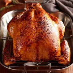 Cider Bourbon-Glazed Roasted Turkey with Shallot Glaze #bourbon #turkey #thanksgiving   Williams-Sonoma