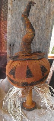 Primitive LARGE Jack o Lantern Pumpkin make do Doll centerpiece grungy spool |