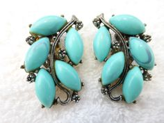 Vintage Turquoise colored celluloid cabochons by MeyankeeGliterz, $10.50