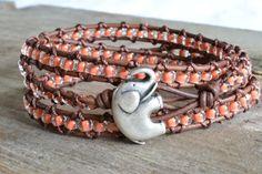 Orange beaded, brown leather triple wrap bracelet, Elephant, Rustic Country, Gypsy, Boho chic, bohemian, Chan Luu style