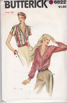 Vintage Butterick 6822, Size 12 or 16 Classic Styling Loose Fitting Blouse Pattern, front button, yoked blouse by TreasuresFromGranny on Etsy