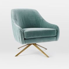 Roar + Rabbit Swivel Chair | west elm - Lichen, Como Velvet - $799 (less 20% is $639.20) - it would be nice to put one of these in the corner of the room with a side table