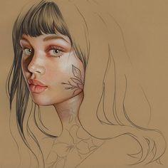 WIP✏️ #elenapanc #illustration #ilustracion #draw #portrait #pastel #pencil Portrait Illustration, Pencil, Pastel, Portraits, Draw, Female, Instagram, Cake, Head Shots