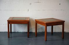 John Keal for Brown Saltman Walnut Side Table with Brass Inlay (PAIR)