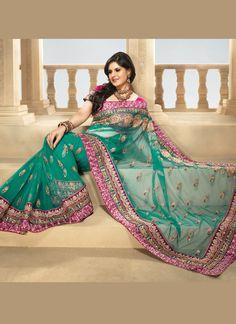 Beautiful Turquoise Green Net Saree