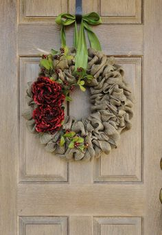 Holiday Burlap Wreath--Christmas Burlap Wreath with Red Peony Flowers and Berries by WhimsyChicDesigns on Etsy