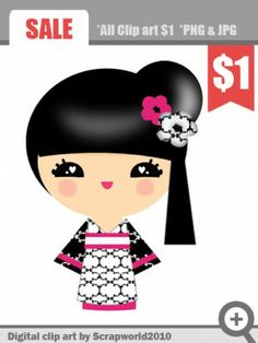 kokeshi doll clipart pink flower