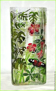 Cheap And Easy Useful Tips: Copper Vases Modern old vases plants.Metal Vases Industrial flower vases tin cans. Painted Glass Vases, Clear Glass Vases, Glass Art, Large Vases, Faux Stained Glass, Stained Glass Designs, Bottle Painting, Bottle Art, Vase Transparent