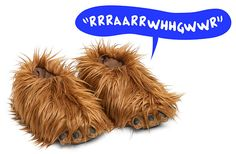 Warm your feet with this fuzzy Wookiee slippers, featuring the sound of Chewbacca (but not the smell). When you walk, these slippers alternate between two different Wookiee roars: RRRAARRWHHGWWR and WAAAAAAAAARGH.