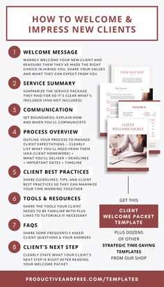 8 Must-Have Details to Include in Your Client Welcome Packet — Productive and Free