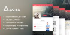 Aasha - Agency Landing Page Template . Aasha is a modern landing page template for agencies that is designed with elegance and unique sections. The sections are designed to focus on the brand identity and agency details and provide an easy option for you audience to get in touch with you.