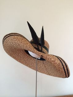 3e8465445f79a A touch of Audrey oversized brim with braid and feather work jillandjack  millinery hats
