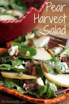 Harvest Salad with Pears, Dried Figs, and Pepitas. www.theyummylife.com/harvest_salad