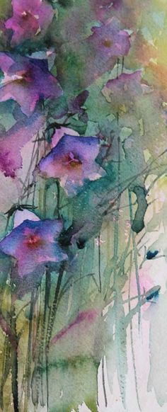 Watercolours With Life: Campanula : Garden Studies 2013 I like the colors and simplicity Watercolor Artists, Abstract Watercolor, Watercolour Painting, Watercolor Flowers, Painting & Drawing, Watercolours, Art Aquarelle, Botanical Art, Flower Art