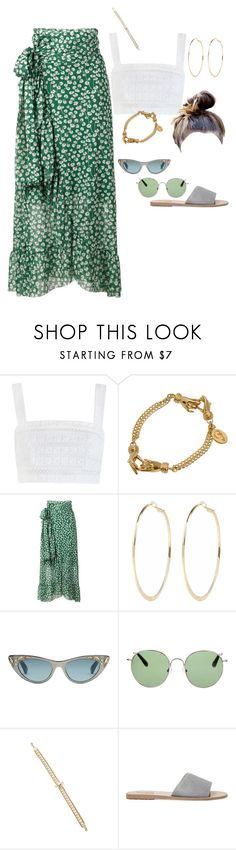 """coachella day 2"" by stylistcookies ❤ liked on Polyvore featuring Zimmermann, GALA Curios, Ganni, River Island, Gucci, Linda Farrow, Elie Saab and Ancient Greek Sandals"