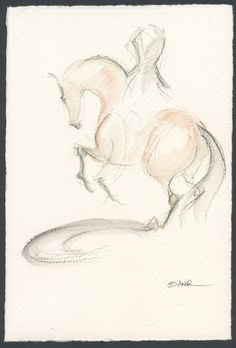 Horse Art Painting Nations Cup Dressage Original by annarockwell