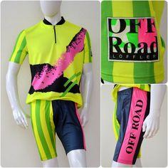 vintage CYCLING outfit by LÖFFLER Off Road mens L-XL neon fluo jersey shorts #LFFLER Neon, Cycling Outfit, Jersey Shorts, Sport Wear, Wetsuit, Unisex, Vintage, Swimwear, How To Wear