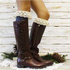 MOUNTAIN  tall lace boot sock - denim tweed - Catherine Cole Studio  - 1