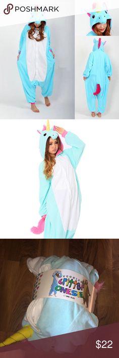 Blue Unicorn Onesie Brand new blue unicorn onesie. One size, probably best up to a size XL. Button up closure. Intimates & Sleepwear Pajamas