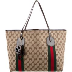 Pre-owned Gucci Large Jolie Web Tote featuring polyvore women's fashion bags handbags tote bags red tote purse handbags totes hand bags red handbags white tote