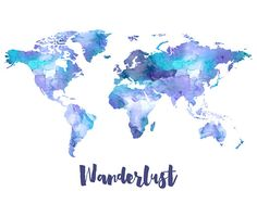 World Map Print Watercolor Wanderlust
