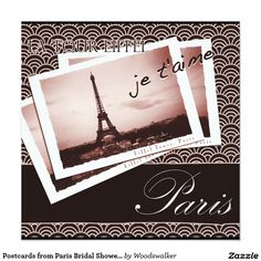 Postcards from Paris Bridal Shower Invitation