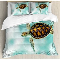 CHASOEA Turtle Bedding SetsCute Baby Turtle Swimming in Abstract Waters Serene Nature Picture Duvet Cover Sets Seafoam Brown Pale Coffee Queen Bedding Comforter Cover Sets Soft Bedding Collections Comforter Cover, Bed Duvet Covers, Duvet Sets, Duvet Cover Sets, Pillow Shams, Cute Baby Turtles, Turtle Swimming, Blanket Cover, Queen Bedding