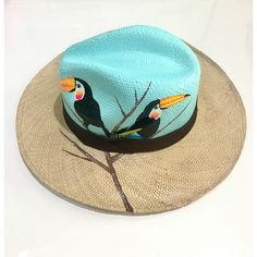 Hand-Painted Fedora hat Painted Hats, Painted Clothes, Hand Painted, Tods Bag, Diy Straw, Pastel House, Diy Hat, Cool Hats, Summer Accessories