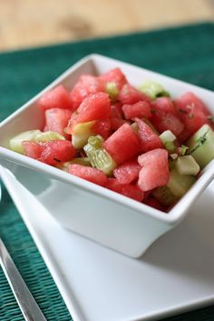 Cucumber Watermelon Salad with Honey and Mint