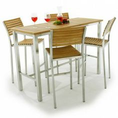 Vogue Teak And Stainless Steel Bar Table Set For Bar Table Sets - Teak pub table and chairs