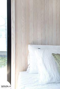 The Scandinavian bedroom with amazing interior panels Scandinavian Bedroom, Scandinavian Design, Wooden Walls, Building Design, Industrial Design, Designer, Bed Pillows, Pillow Cases, Designinspiration