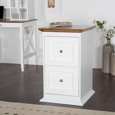 Belham Living Hampton 2-Drawer Wood File Cabinet - White/Oak - Bring style and functionality to your home office with the  Belham Living Hampton 2-Drawer Wood File Cabinet - White/Oak . This solid, wood-framed...