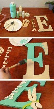 Ashley's baby-DIY – How To Make a custom Name Monogram Kids Crafts, Cute Crafts, Crafts To Do, Craft Projects, Projects To Try, Baby Crafts, Diy Crafts Cheap, Diy Crafts Home, Dorm Room Crafts