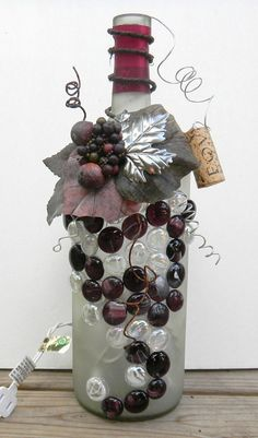 Do Make Wine Bottle Lights | Decorative Embellished Wine Bottle Light with Leaves, Beads, and ...