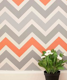 Look at this chasing PAPER Gray & Salmon Chevron 2.0 Wallpaper on #zulily today!