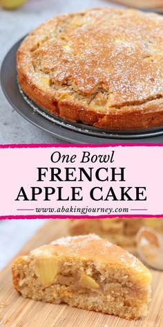 Easy French Apple Cake (One Bowl Only!) This super easy One Bowl French Apple Cake recipe is the perfect dessert to whip up in 30 minutes. The One-Bowl Apple Cake is super Moist and Light - great to enjoy with your afternoon tea or to finish a heavy meal! Easy French Recipes, French Dessert Recipes, Apple Dessert Recipes, Easy Cake Recipes, Mini Desserts, Easy Desserts, Sweet Recipes, Baking Recipes, Cooking Apple Recipes