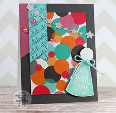 Card by Amy Kolling. Reverse Confetti stamp sets: Party Hats and Beautiful Banners. Confetti Cuts: Party Hat, Star Garland, and Stitched Flag Trio. Birthday card.