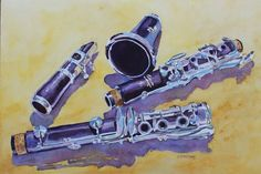 Clarinet Candy, A Watercolor Painting by Artist Jenny Armitage- LOVE THE SOUND OF A CLARINET!