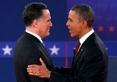 90 - 10/16/12 - Republican presidential nominee Mitt Romney, left, and President Barack Obama shakes hands at the start of the second U.S. presidential campaign debate in Hempstead, N.Y,. on Tuesday, Oct. 16, 2012. (REUTERS/Jim Young)