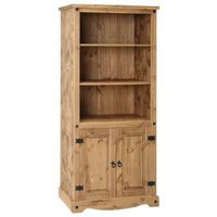 Mexican Bookcase 2 Door (Corona Range)    80(w) x 42(d) x 177(h)cm  Pine with a lightly distressed wax finish  Self assembly  This Mexican-style bookcase is perfect for a living room or dining area, and ideal for storing household equipment with the two cupboards.